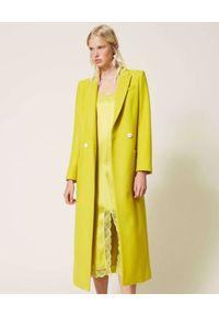 TwinSet - TWINSET - Żółty płaszcz z wełny. Kolor: żółty. Materiał: wełna. Długość: długie