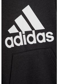 Czarna bluza Adidas z nadrukiem, na co dzień, casualowa, z kapturem