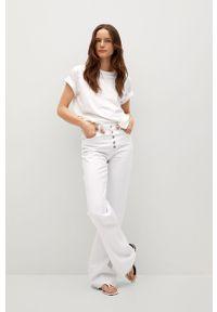 Białe jeansy bootcut mango gładkie, z podwyższonym stanem