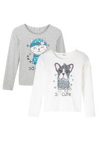 Shirt dziewczęcy z długim rękawem (2 szt.), bawełna organiczna bonprix biel wełny - jasnoszary melanż. Kolor: biały. Materiał: bawełna, wełna. Długość rękawa: długi rękaw. Długość: długie. Wzór: melanż
