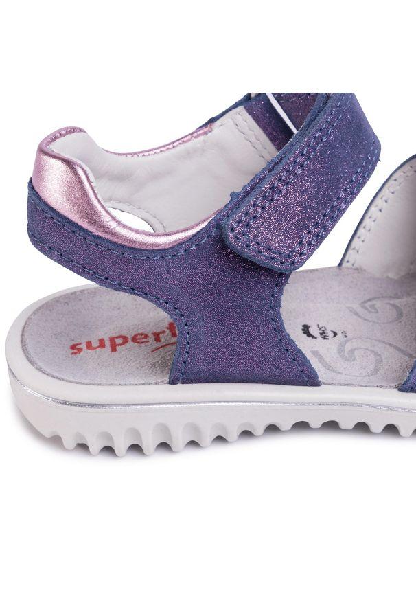 Fioletowe sandały Superfit casualowe, na co dzień, z aplikacjami