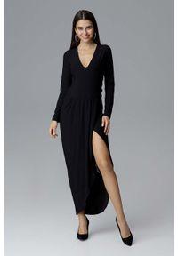Czarna sukienka wizytowa Figl z asymetrycznym kołnierzem, maxi, asymetryczna