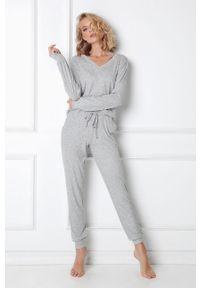 Szara piżama Aruelle gładkie, długa