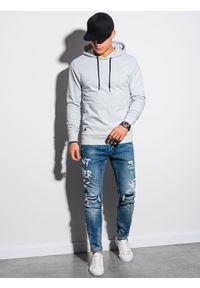 Ombre Clothing - Bluza męska z kapturem B1154 - jasnoszara - XXL. Typ kołnierza: kaptur. Kolor: szary. Materiał: poliester, bawełna