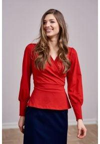 Marie Zélie - Bluzka Etel wiśniowa. Kolor: czerwony. Długość rękawa: długi rękaw. Długość: długie