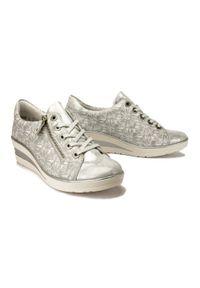 Rieker Remonte - RIEKER REMONTE R7211-90 silver/platinum, półbuty damskie. Kolor: srebrny. Materiał: skóra. Obcas: na koturnie