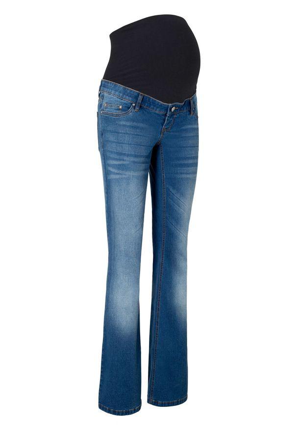 """Dżinsy ciążowe BOOTCUT bonprix niebieski """"stone"""". Kolekcja: moda ciążowa. Kolor: niebieski"""