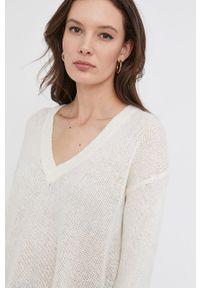 Kremowy sweter Answear Lab gładki, długi, wakacyjny