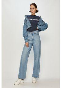 Niebieska bluzka Tommy Jeans na co dzień, z nadrukiem