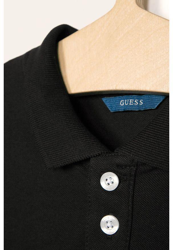 Czarny t-shirt polo Guess Jeans na co dzień, casualowy, krótki, polo