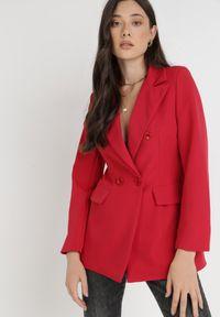 Born2be - Czerwona Marynarka Ianthathe. Kolor: czerwony. Materiał: jeans, materiał