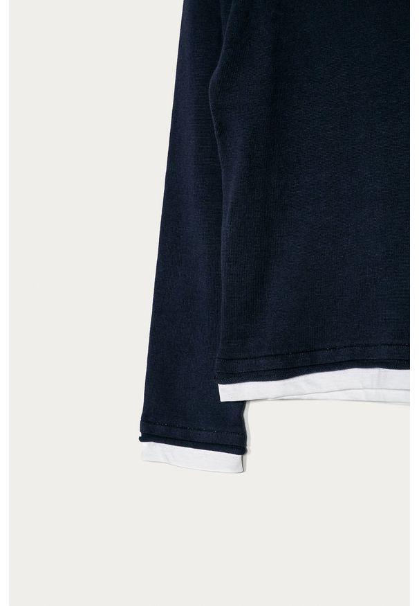 Niebieski sweter Guess Jeans z okrągłym kołnierzem, casualowy, na co dzień