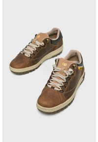 Brązowe sneakersy CATerpillar z cholewką, na sznurówki