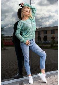 Merribel - Ażurowy Sweter z Dekoltem Kształcie Litery V - Miętowy. Kolor: miętowy. Materiał: akryl. Wzór: ażurowy