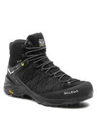 Salewa - Trekkingi SALEWA - Ms Alp Trainer 2 Mid Gtx GORE-TEX 61382-0971 Black/Black 0971. Kolor: czarny. Materiał: skóra, zamsz, materiał. Technologia: Gore-Tex. Sport: turystyka piesza