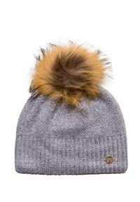 Szara czapka Granadilla elegancka, z aplikacjami, na zimę