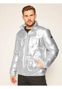 Srebrna kurtka zimowa Karl Lagerfeld z dekoltem karo