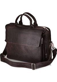 Torba Solier Skórzana torba męska na ramię, torba na laptop SOLIER ciemnobrązowa. Kolor: brązowy. Materiał: skóra