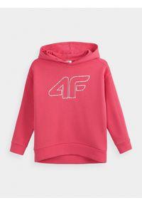 Różowa bluza 4f z kapturem, z nadrukiem, casualowa, na co dzień