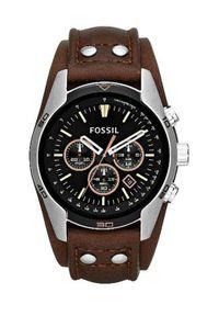Fossil - Zegarek CH2891. Kolor: brązowy. Materiał: skóra, materiał. Styl: retro