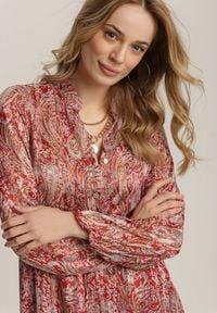 Renee - Bordowa Sukienka Talolure. Kolor: czerwony