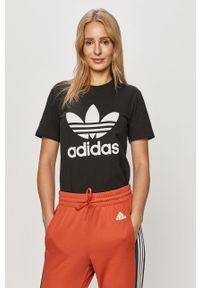 adidas Originals - T-shirt. Okazja: na co dzień. Kolor: czarny. Materiał: dzianina. Wzór: nadruk. Styl: casual