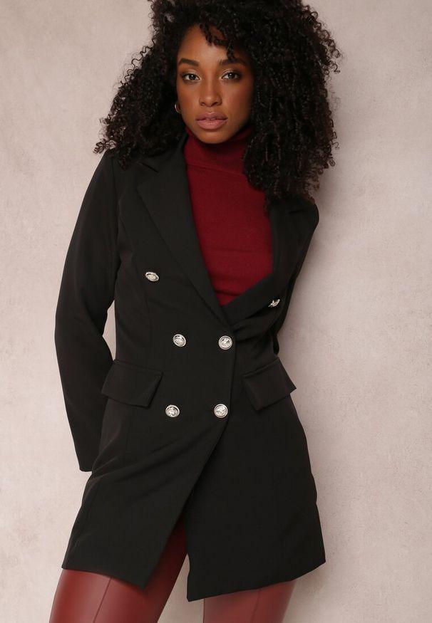 Renee - Czarna Marynarka Parthopis. Okazja: na spotkanie biznesowe. Kolor: czarny. Materiał: tkanina. Długość: długie. Styl: wizytowy, klasyczny, biznesowy