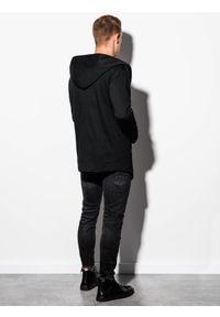 Ombre Clothing - Bluza męska z kapturem B702 - czarna - XL. Typ kołnierza: kaptur. Kolor: czarny. Materiał: bawełna, poliester