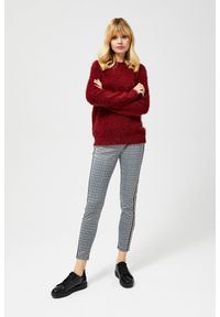 Czerwony sweter MOODO długi, z długim rękawem, z okrągłym kołnierzem