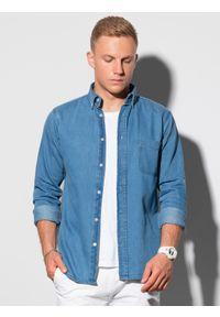 Ombre Clothing - Koszula męska z długim rękawem K568 - niebieska - XXL. Kolor: niebieski. Materiał: bawełna, jeans. Długość rękawa: długi rękaw. Długość: długie