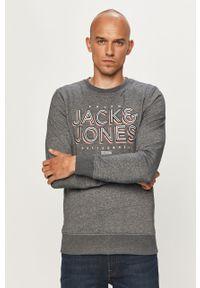 Niebieska bluza nierozpinana Jack & Jones z aplikacjami, na co dzień, z okrągłym kołnierzem