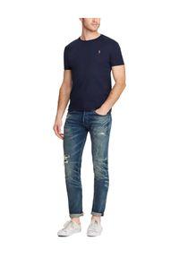 Ralph Lauren - RALPH LAUREN - Granatowy t-shirt Custom Slim Fit. Okazja: na co dzień. Typ kołnierza: polo. Kolor: niebieski. Materiał: materiał. Wzór: haft. Styl: casual, klasyczny