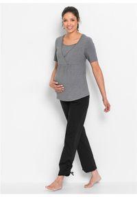 Komplet ciążowy i do karmienia (2 części), krótki rękaw bonprix szary melanż + czarny. Kolekcja: moda ciążowa. Kolor: szary. Materiał: materiał. Długość rękawa: krótki rękaw. Długość: krótkie. Wzór: melanż