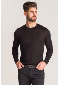 Czarny sweter Versace Collection z aplikacjami, z okrągłym kołnierzem