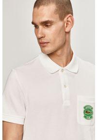 Biała koszulka polo Lacoste casualowa, na co dzień, z aplikacjami