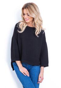 Czarny sweter oversize Fobya w prążki