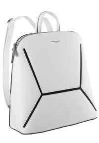 DAVID JONES - Plecak damski biały David Jones 6261-2 WHITE. Kolor: biały. Materiał: skóra ekologiczna