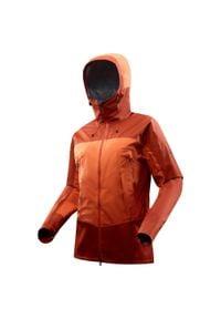 FORCLAZ - Kurtka turystyczna WTP TREK 500 męska. Kolor: pomarańczowy. Materiał: tkanina, materiał