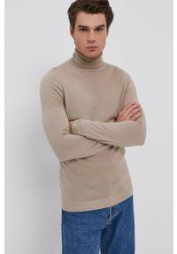 Drykorn - Sweter wełniany. Okazja: na co dzień. Typ kołnierza: golf. Kolor: brązowy. Materiał: wełna. Długość rękawa: długi rękaw. Długość: długie. Styl: casual