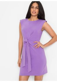 Sukienka z ozdobnym przewiązaniem bonprix głęboki bez. Kolor: fioletowy