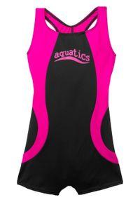 Kostium kąpielowy dziewczęcy bonprix czarno-różowy. Kolor: czarny. Materiał: poliester, poliamid, materiał, elastan #1