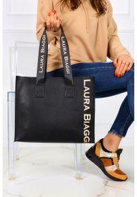 Laura Biaggi - Czarna torebka shopperka z długimi rączkami 2w1 laura biaggi mg260. Kolor: czarny