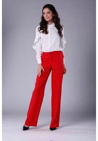 Czerwone spodnie z wysokim stanem Nommo eleganckie