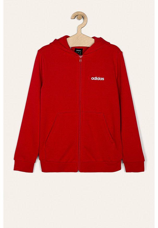 Czerwona bluza rozpinana Adidas casualowa, z nadrukiem, z kapturem