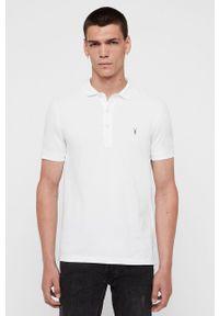 Biała koszulka polo AllSaints krótka, casualowa, na co dzień, polo
