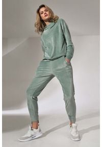 Figl - Dresowe Spodnie z Weluru - Miętowe. Kolor: miętowy. Materiał: welur, dresówka