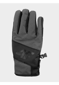 4f - Rękawice narciarskie męskie. Kolor: szary. Materiał: skóra, syntetyk, materiał. Technologia: Thinsulate. Sezon: zima. Sport: narciarstwo