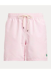 Ralph Lauren - RALPH LAUREN - Różowe spodenki kąpielowe w kratę Traveller Classic Fit. Kolor: różowy, wielokolorowy, fioletowy. Materiał: tkanina, mesh. Wzór: haft, aplikacja