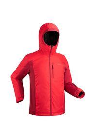 WEDZE - Kurtka narciarska 180 męska. Kolor: czerwony. Materiał: skóra, materiał. Sezon: zima. Sport: narciarstwo