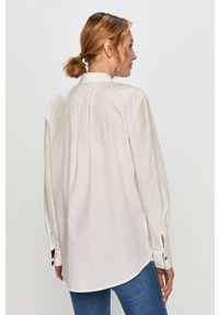 Biała koszula TOMMY HILFIGER gładkie, długa, klasyczna, na co dzień